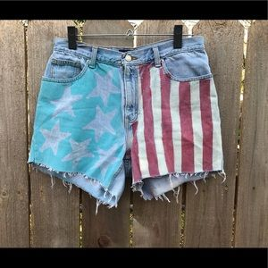 Ann Taylor cut off denim AMERICAN flag jean shorts
